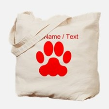 Custom Red Big Cat Paw Print Tote Bag