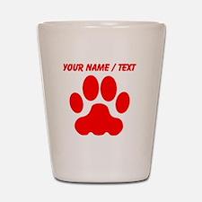 Custom Red Big Cat Paw Print Shot Glass