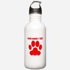 Custom Red Big Cat Paw Print Sports Water Bottle