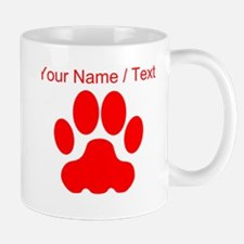 Custom Red Big Cat Paw Print Mugs