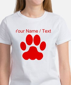 Custom Red Big Cat Paw Print T-Shirt