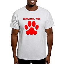 Custom Red Big Cat Paw Print T-Shirt