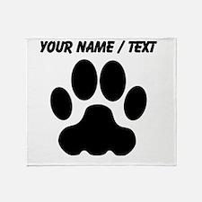 Custom Black Big Cat Paw Print Throw Blanket