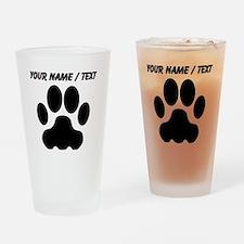 Custom Black Big Cat Paw Print Drinking Glass