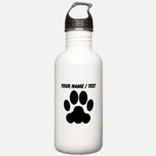 Custom Black Big Cat Paw Print Sports Water Bottle
