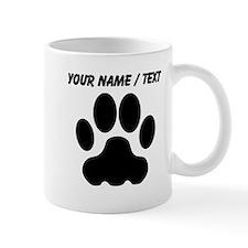Custom Black Big Cat Paw Print Mugs