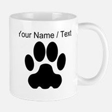 Custom Black Big Cat Paw Print Mugs