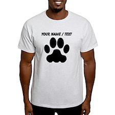 Custom Black Big Cat Paw Print T-Shirt