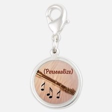 Flute Sounds/personalize Silver Round Charm Charms