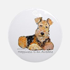 Airedale Happiness Ornament (Round)