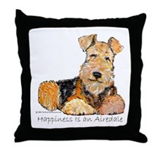 Airedale Happiness Throw Pillow
