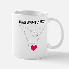 Custom White Dove With Heart Mugs