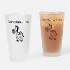 Custom Cartoon Zebra Drinking Glass