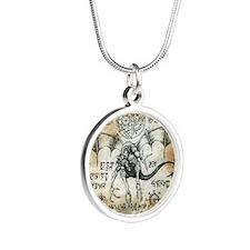 Dragon Runes Silver Round Necklace