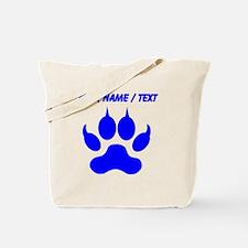 Custom Blue Wolf Paw Print Tote Bag