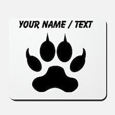 Custom Black Wolf Paw Print Mousepad