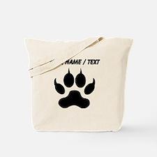 Custom Black Wolf Paw Print Tote Bag