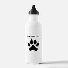 Custom Black Wolf Paw Print Sports Water Bottle