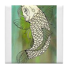 Green Koi Fish Tile Coaster