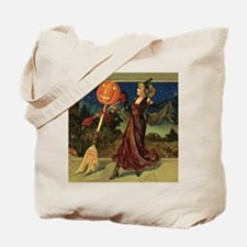 Vintage Halloween Dancing Witch Tote Bag