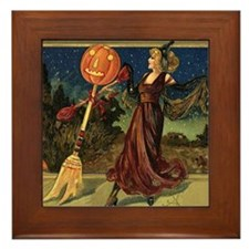 Vintage Halloween Dancing Witch Framed Tile