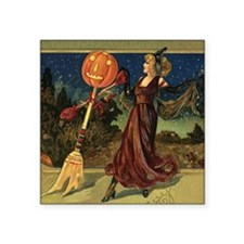 "Vintage Halloween Dancing W Square Sticker 3"" x 3"""