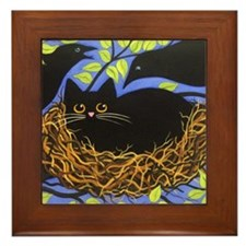 Black CAT in Crow's Nest Framed ART Tile