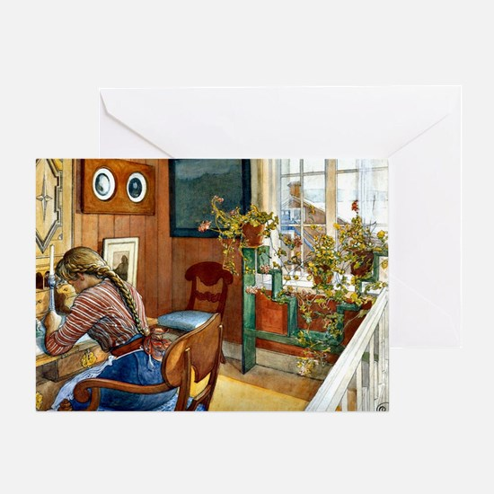 Correspondence, painting by Carl Lar Greeting Card