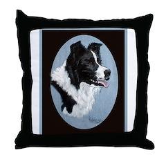 Border Collie Profile Throw Pillow
