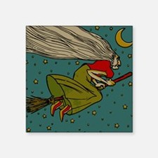 """Vintage Halloween Witch Flying Square Sticker 3"""" x"""