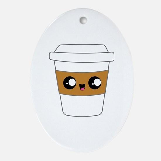 Unique Coffee cartoons Oval Ornament