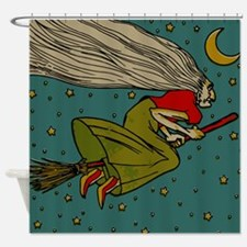 Vintage Halloween Witch Flying Shower Curtain