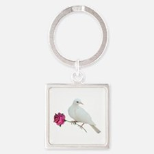 Dove Rose Square Keychain
