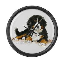 Bernese Mountain Dog Bright Eyes Large Wall Clock