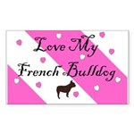Love My French Bulldog-Pink Rectangle Sticker