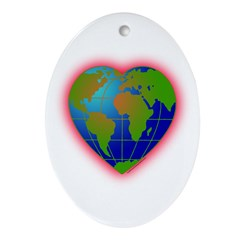 Earth Heart Oval Ornament