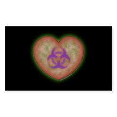 Biohazard Heart Rectangle Decal