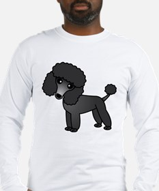 Cute Poodle Black Coat Long Sleeve T-Shirt
