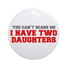 two-daughters-fresh-gray-red-3000 Ornament (Round)