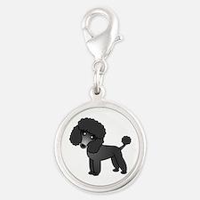 Cute Poodle Black Coat Charms