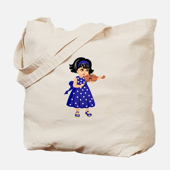 violin player young girl blue dress Tote Bag