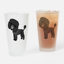 Cute Poodle Black Coat Drinking Glass