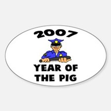2007 YEAR OF THE PIG Oval Decal