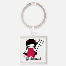 Cute Goth Bridesmaid Square Keychain