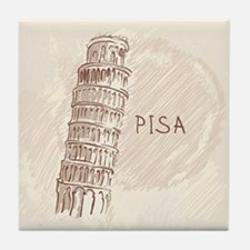 Leaning Tower of Pisa Tile Coaster
