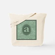 Letter A Mint Green Damask Totebag