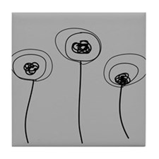 Abstract Flowers Gray Tile Coaster