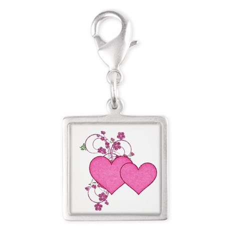 Double Pink Hearts Design Charms