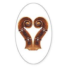 Violin Scroll Heart Oval Decal