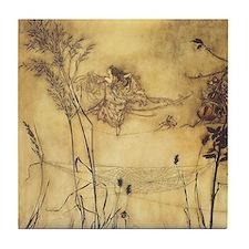 Fairy's Tightrope by Arthur Rackham  Tile Coaster